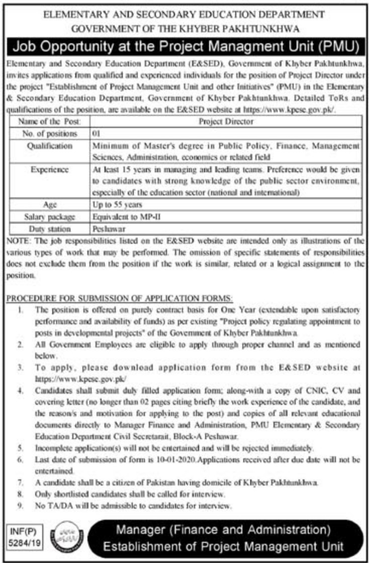 Elementary & Secondary Education Department ESED Jobs 2019 KPK