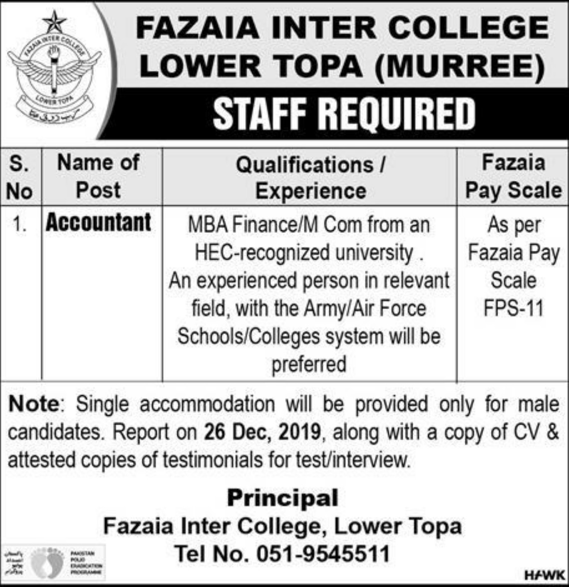 Fazaia Inter College Lower Topa Murree Jobs 2019