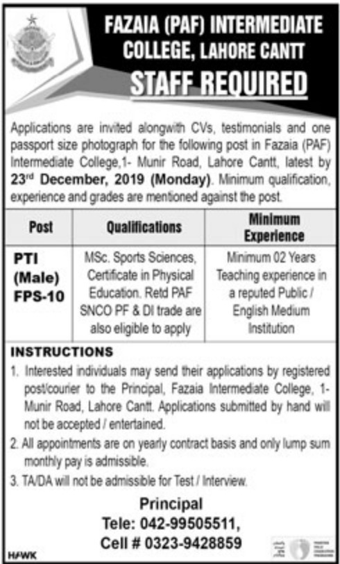 Fazaia PAF Intermediate College Lahore Cantt Jobs 2019