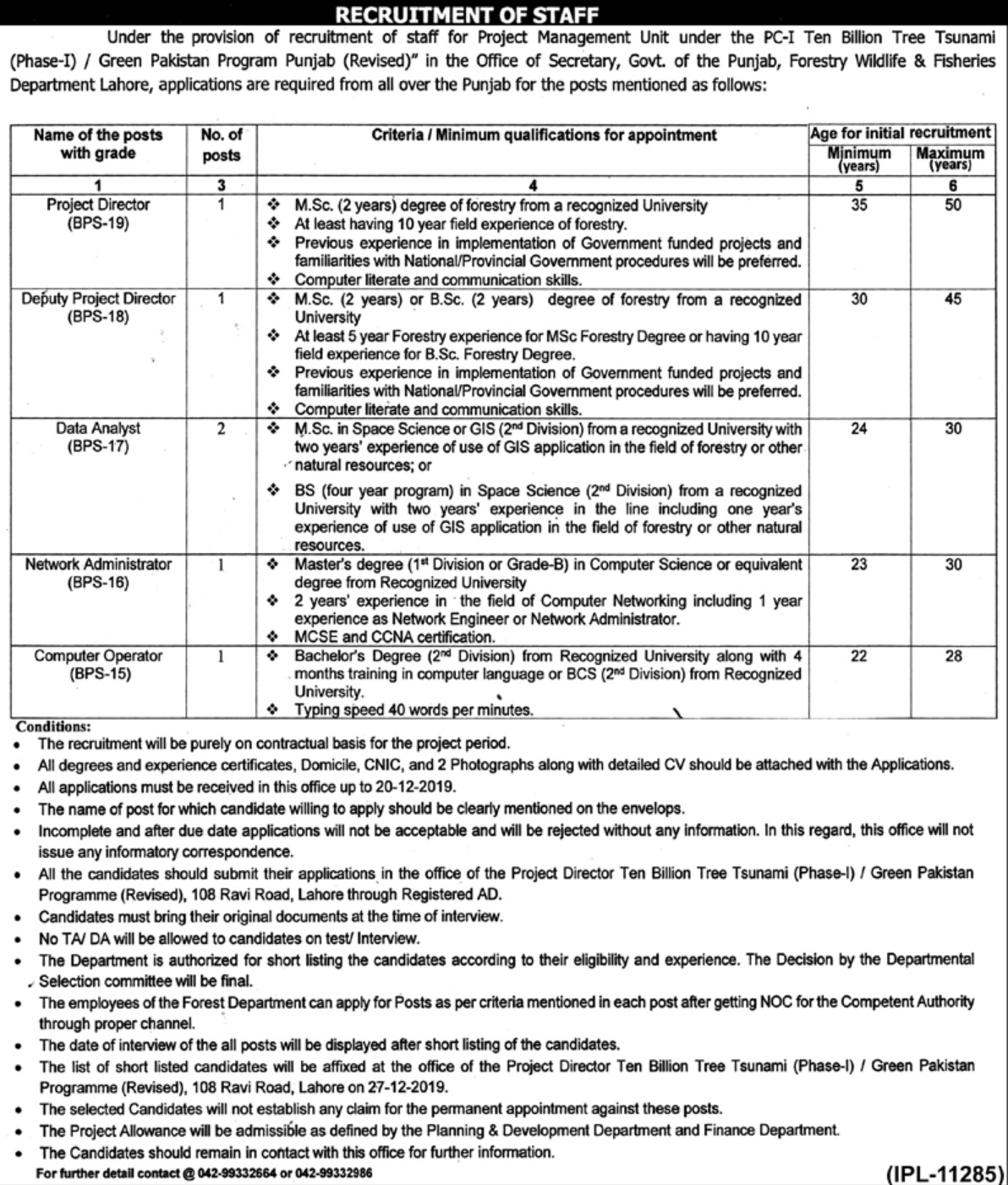 Forestry Wildlife & Fisheries Department Punjab Lahore Jobs 2019