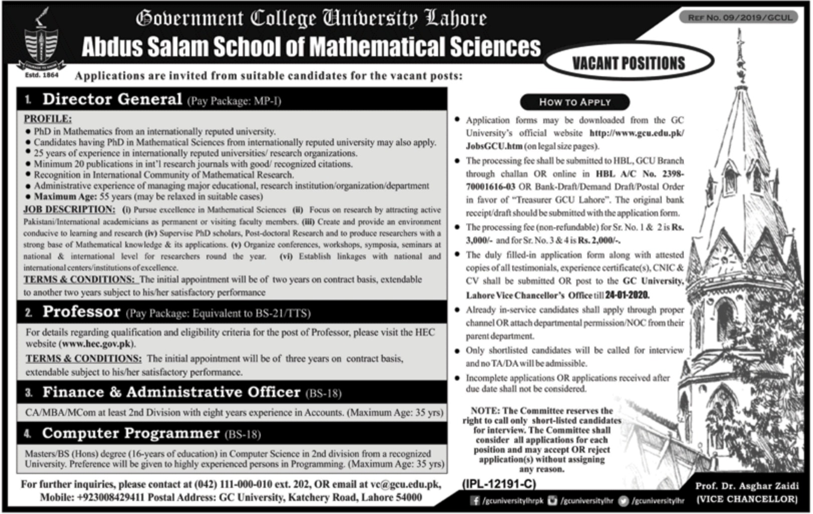 Government College GC University Lahore Jobs 2020