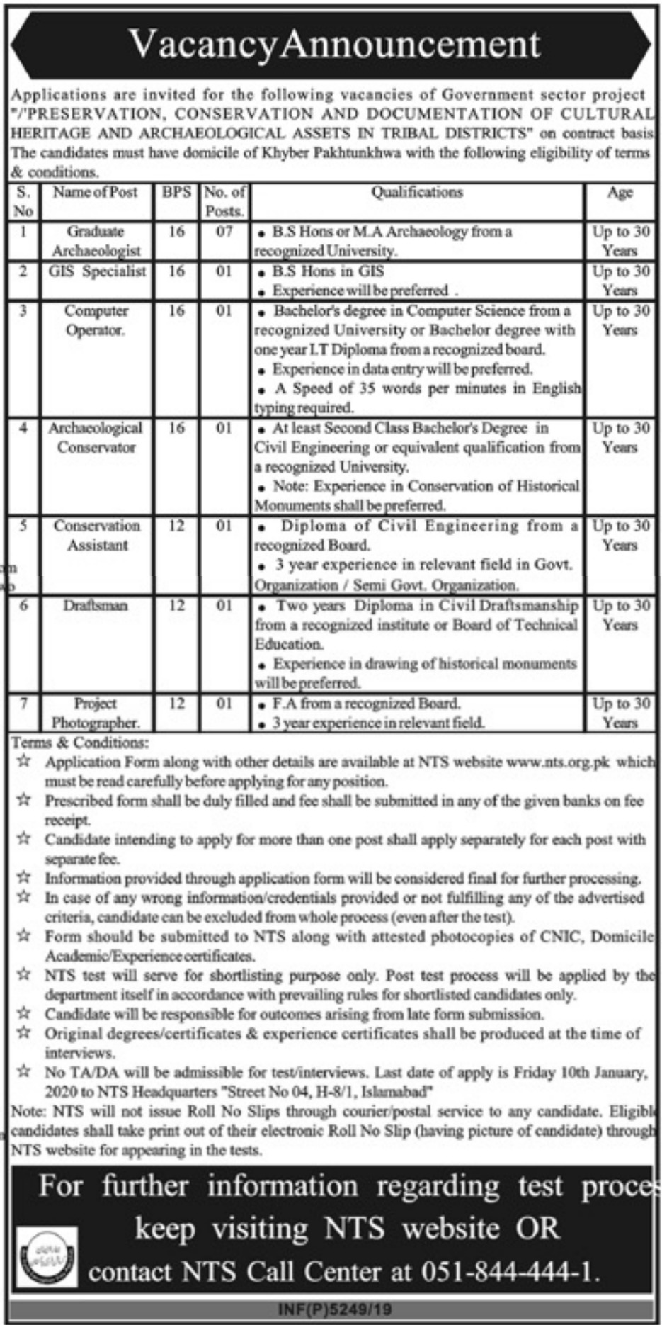 Government Sector Project Khyber Pakhtunkhwa Jobs 2019 Apply via NTS