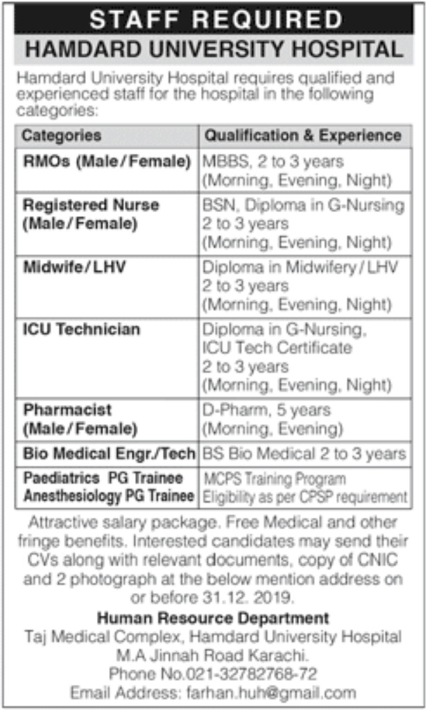 Hamdard University Hospital Karachi Jobs 2019