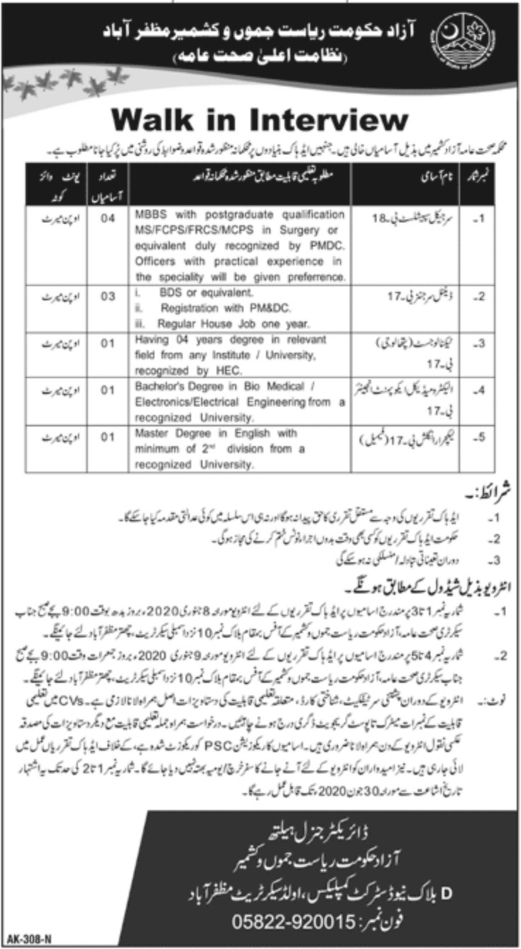 Health Department AJK Jobs 2019