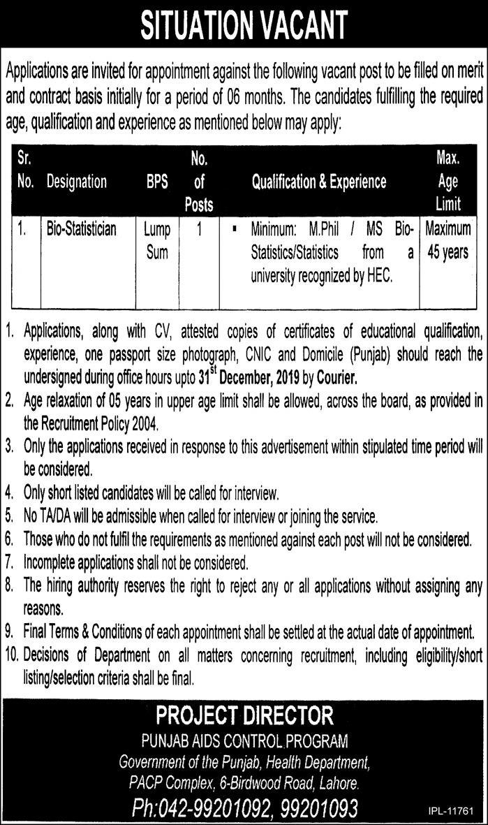 Health Department Government of Punjab Jobs 2019