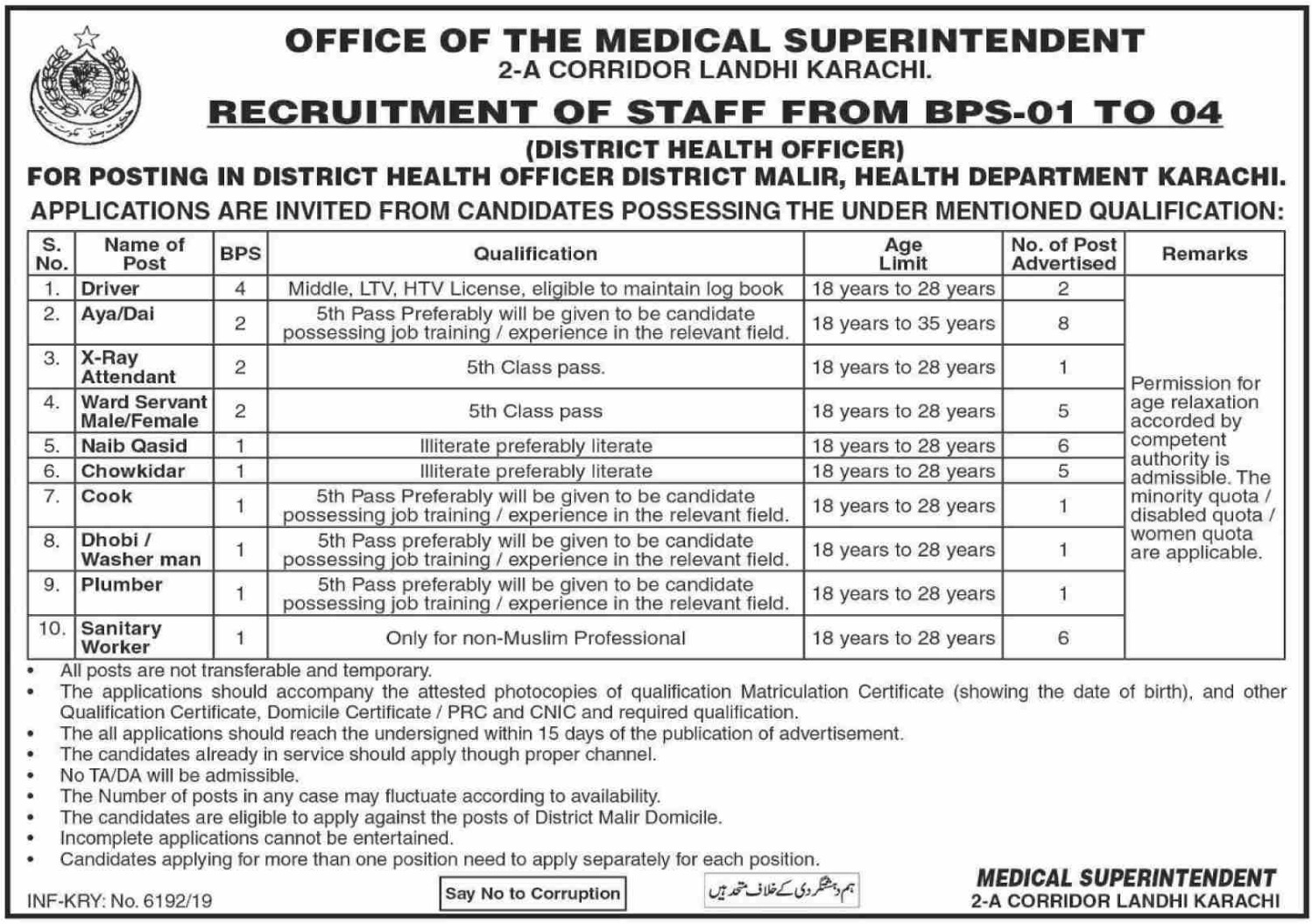 Health Department Karachi Jobs 2019 Sindh