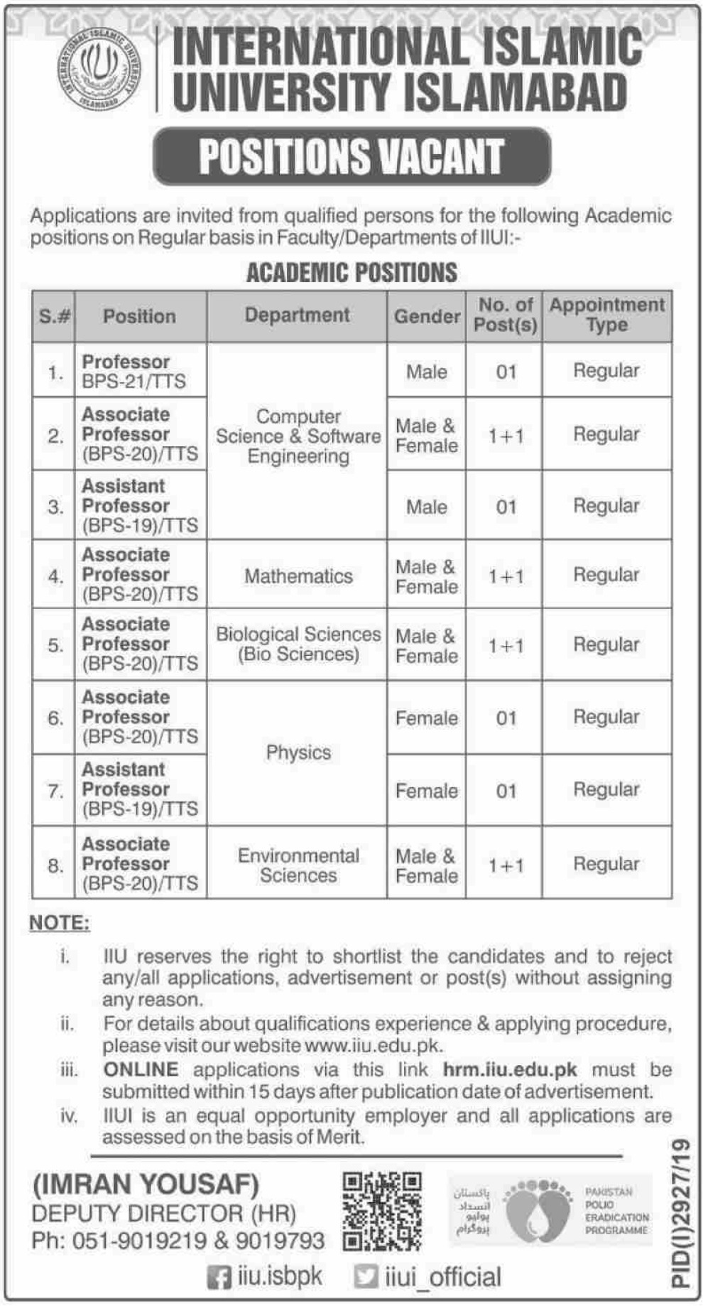 International Islamic University Islamabad Jobs 2019