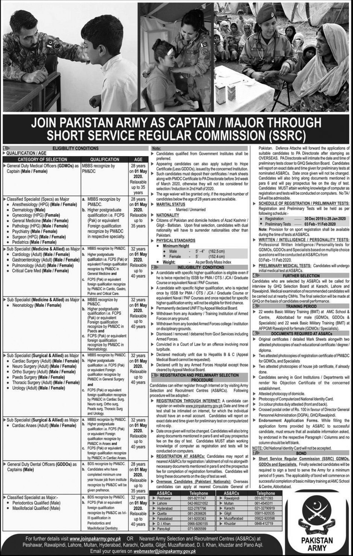 Join Pakistan Army as Captain & Major through SSRC 2020