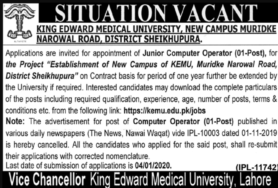 KEMU Muridke Jobs 2019 King Edward Medical University