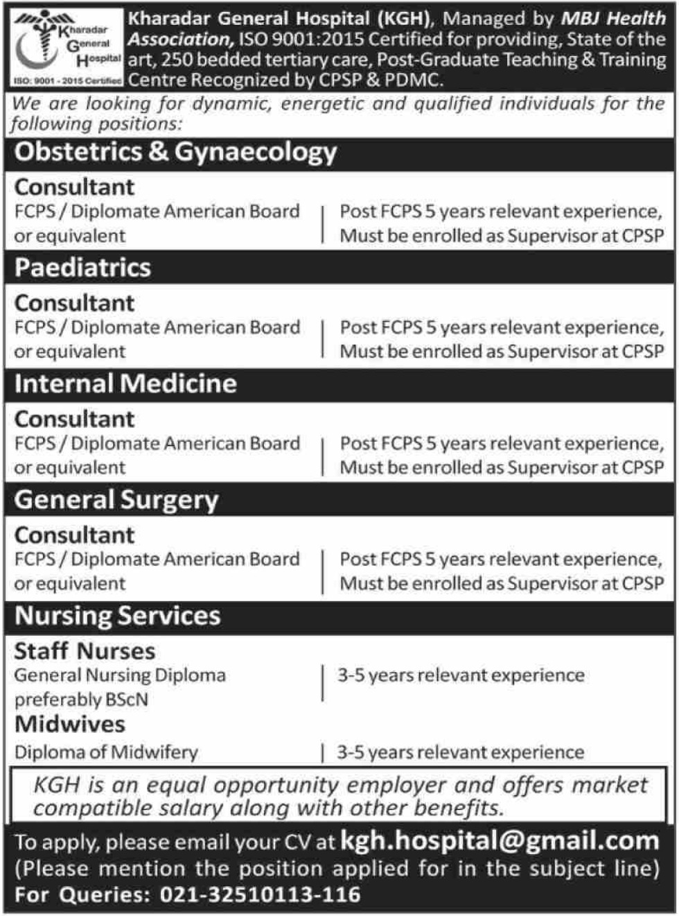 Kharadar General Hospital KGH Jobs 2019