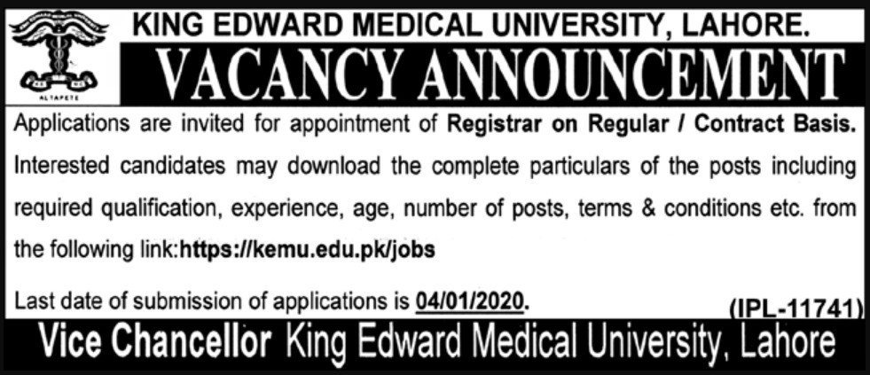 King Edward Medical University Jobs 2019 KEMU Lahore