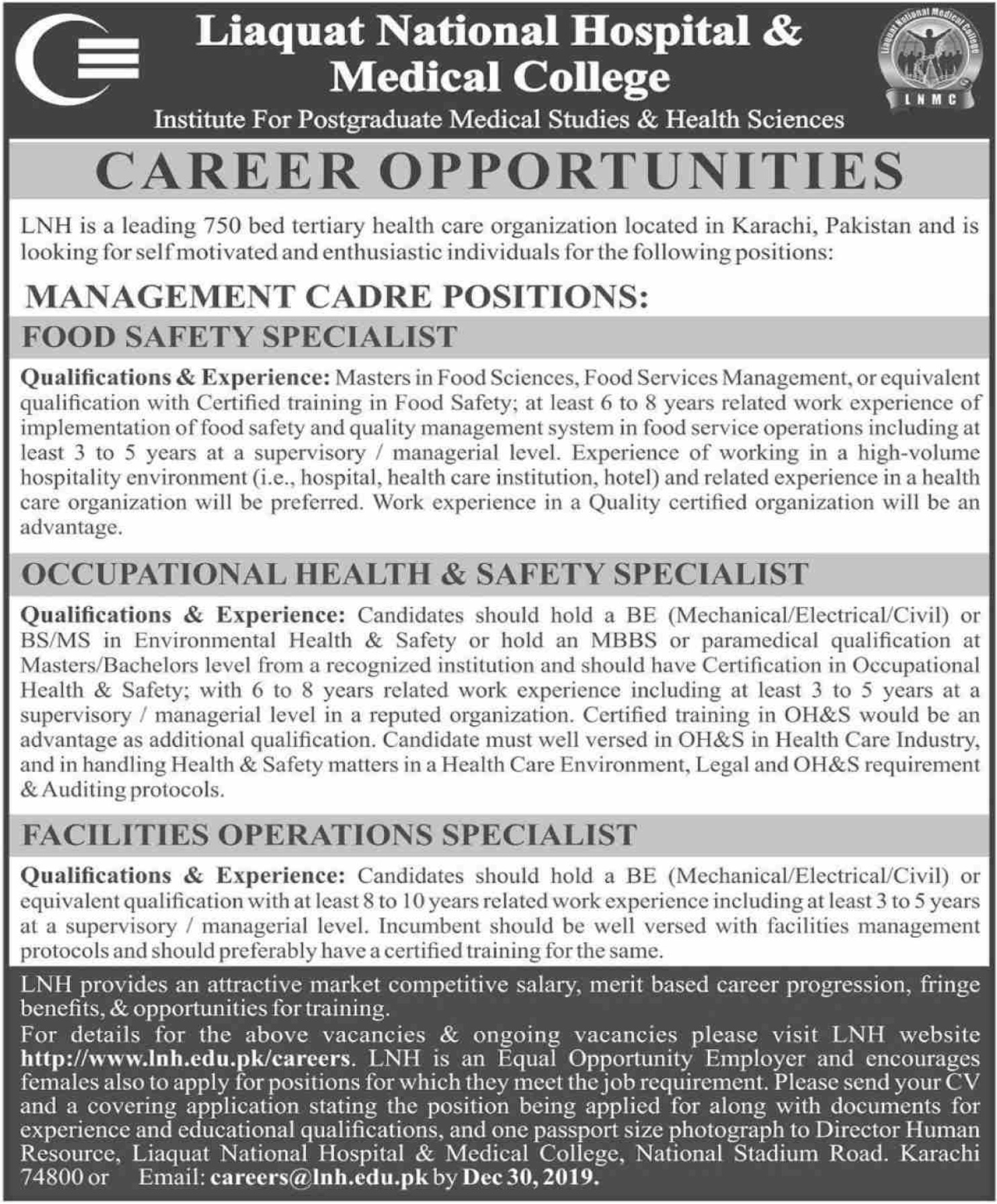 Liauat National Hospital & Medical College Karachi Jobs 2019