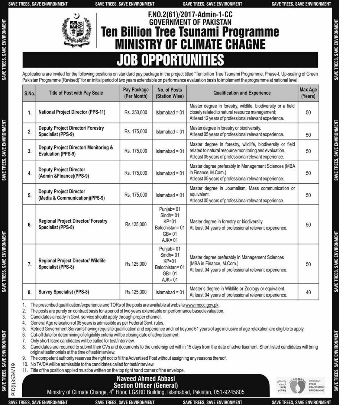 Ministry of Climate Change Jobs 2020 Pakistan