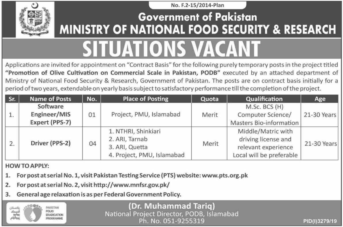Ministry of National Food Security & Research Jobs 2019 Apply through PTS