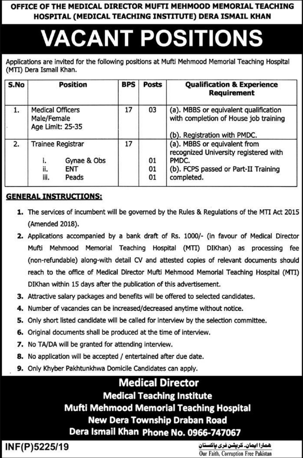 Mufti Mehmood Memorial Teaching Hospital D.I. Khan Jobs 2019