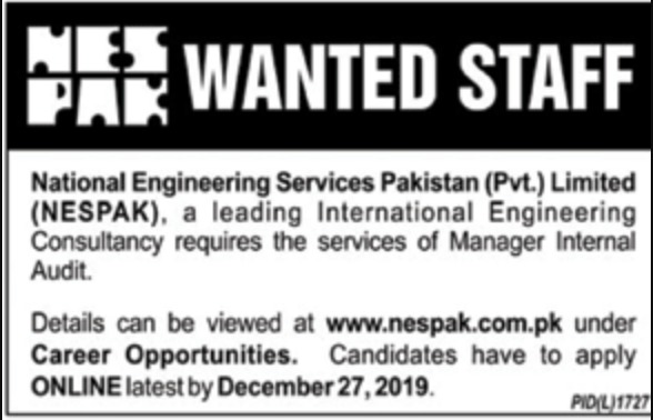NESPAK Jobs 2019 National Engineering Services Pakistan Pvt Limited
