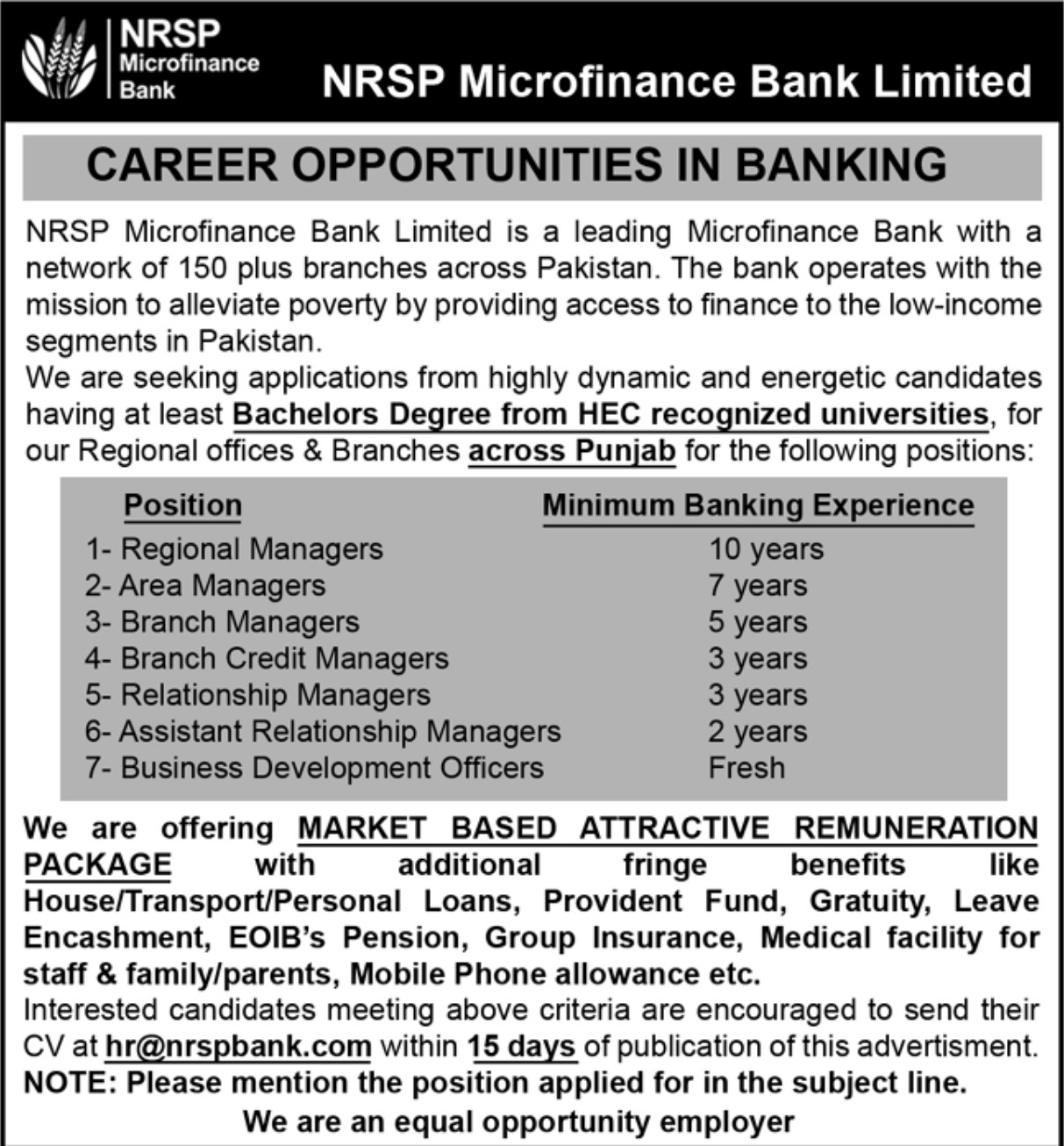 NRSP Microfinance Bank Limited Jobs 2019