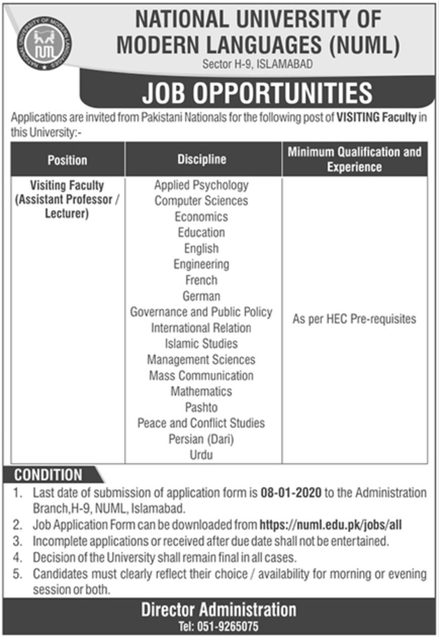NUML Jobs 2020 National University of Modern Languages