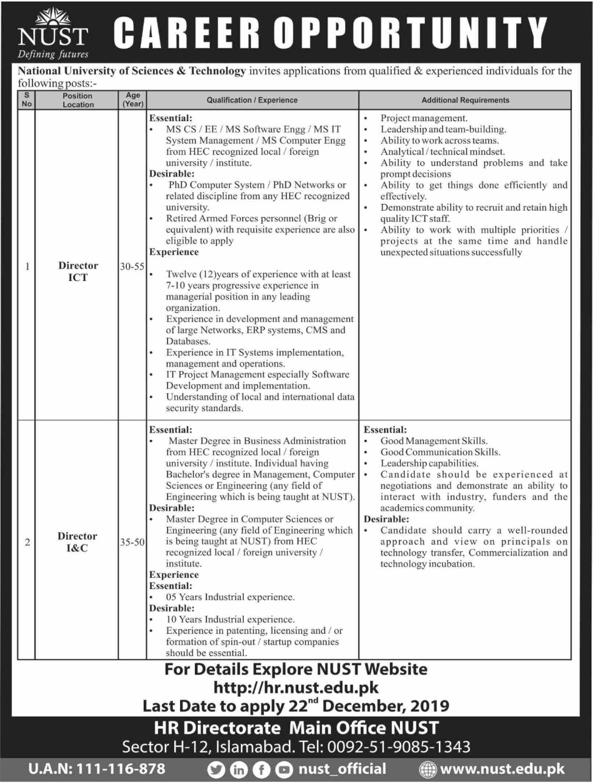 NUST Islamabad Jobs 2019 National University of Sciences & Technology