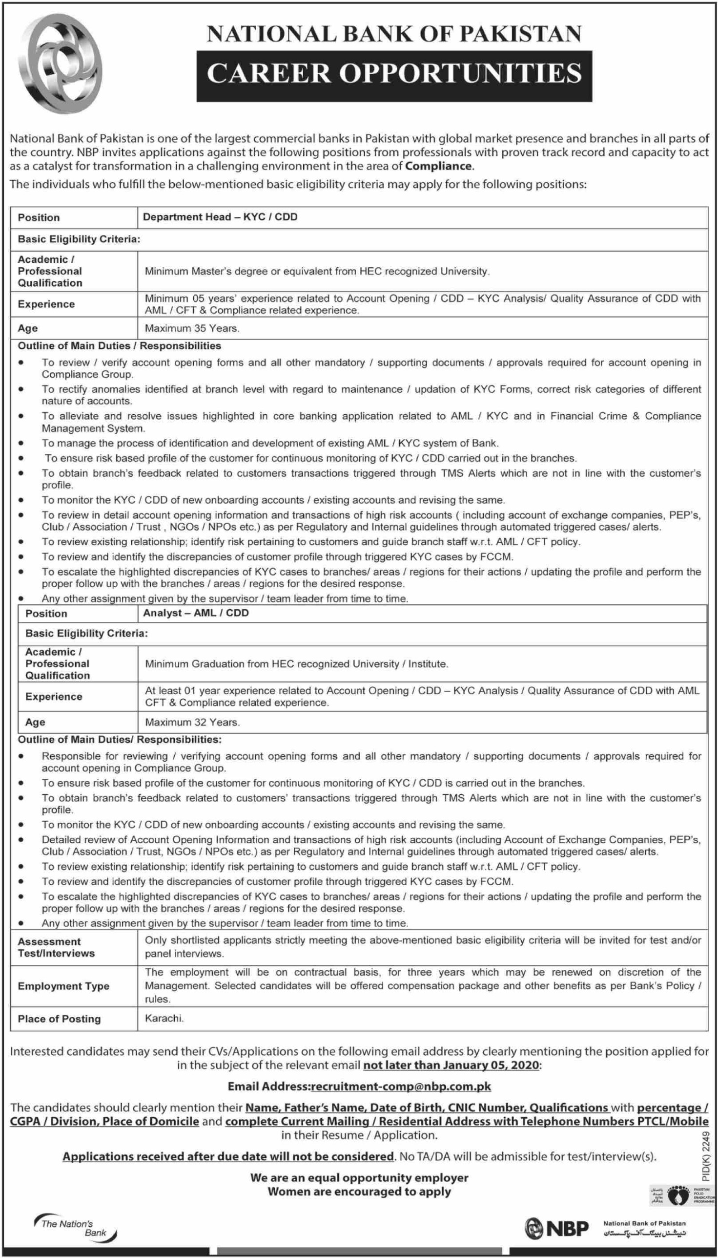 National Bank of Pakistan NBP Jobs 2019