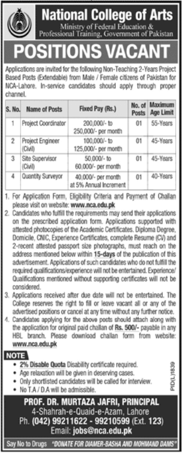 National College of Arts NCA Lahore Jobs 2019