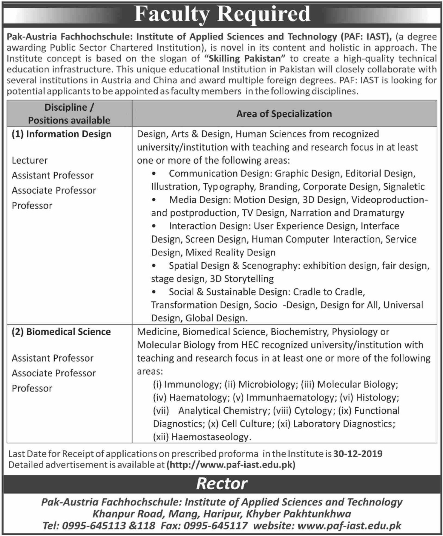 PAF Institute of Applied Sciences & Technology Haripur KPK Jobs 2019