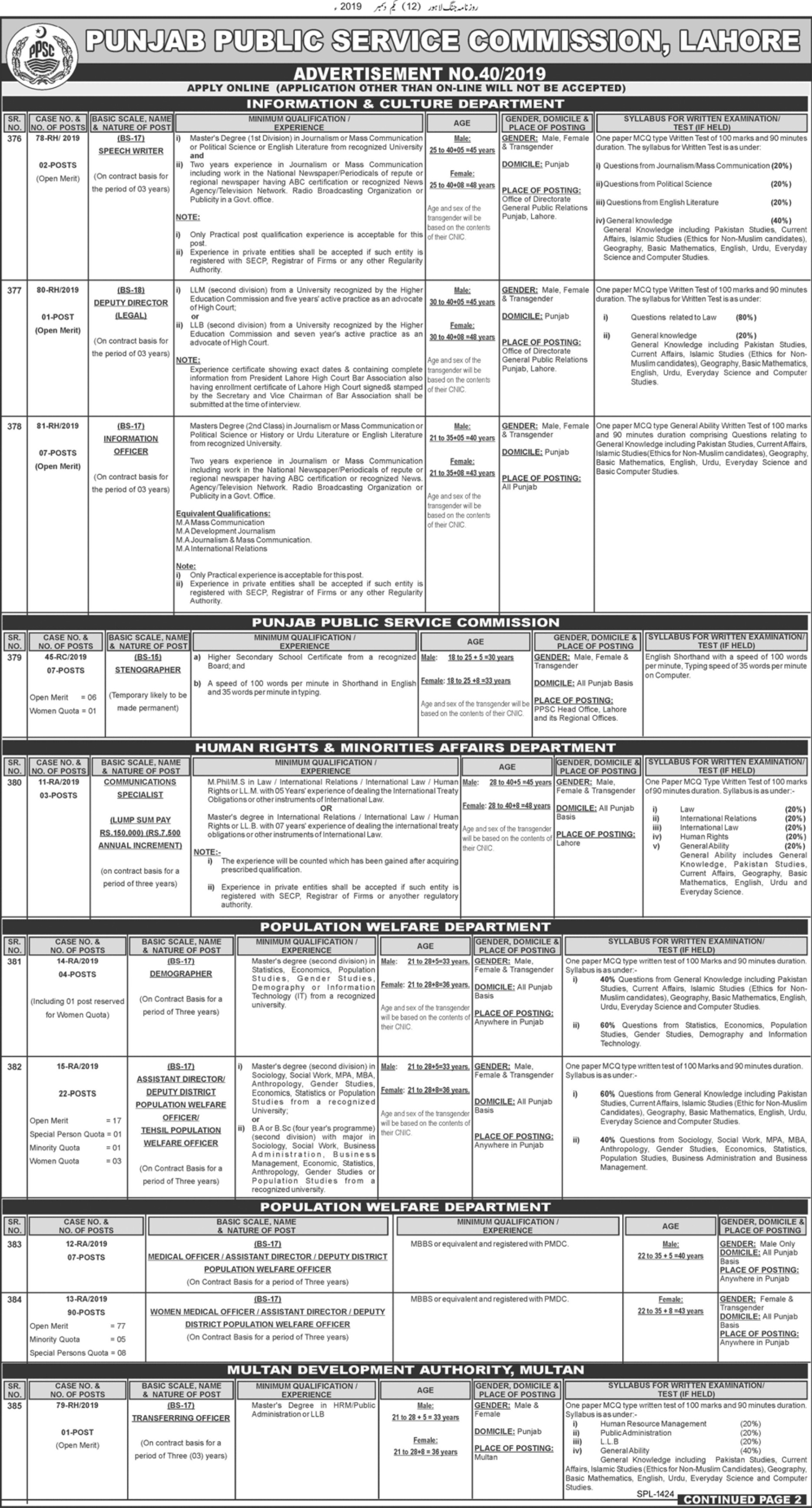 PPSC Jobs December 2019 Punjab Public Service Commission