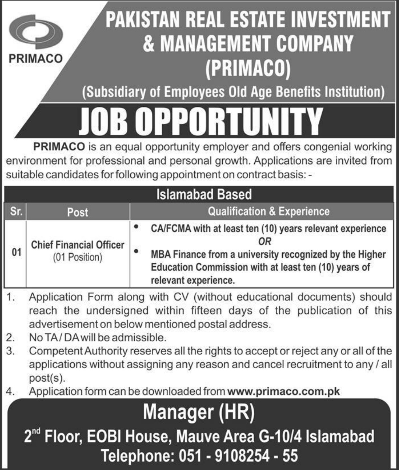 PRIMACO Jobs 2019 Pakistan Real Estate Investment & Management Company