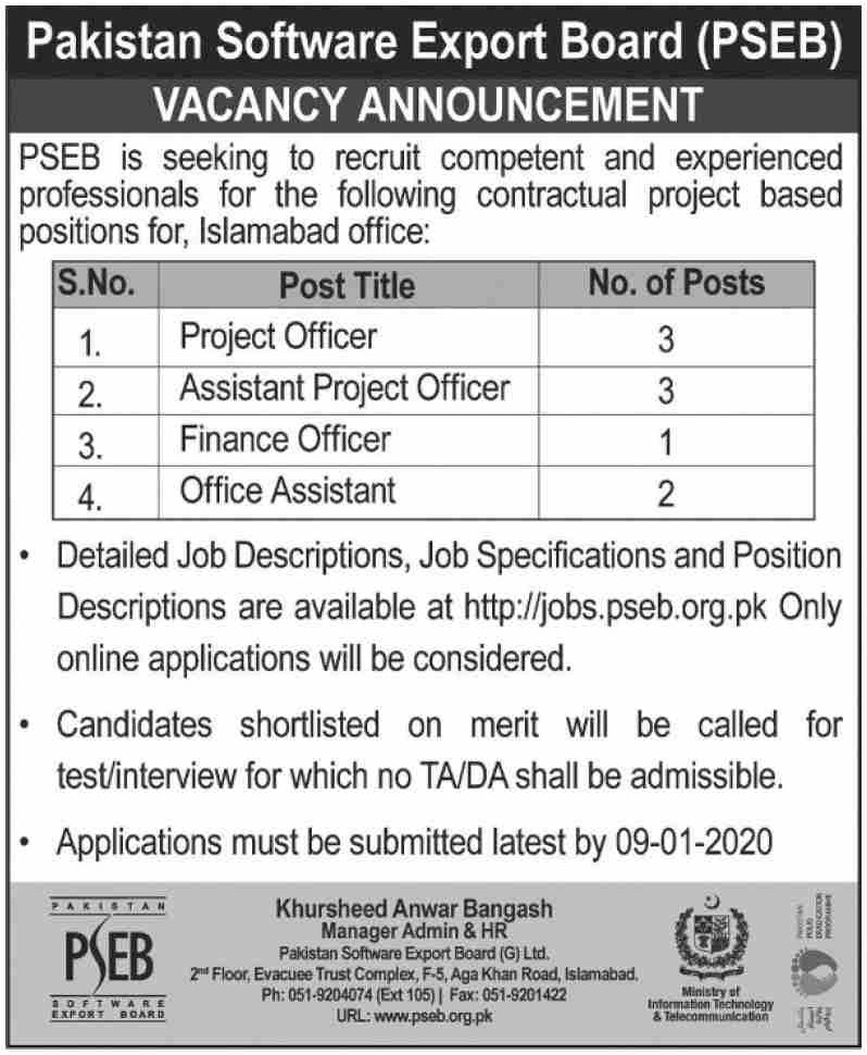 PSEB Jobs 2019 Pakistan Software Export Board