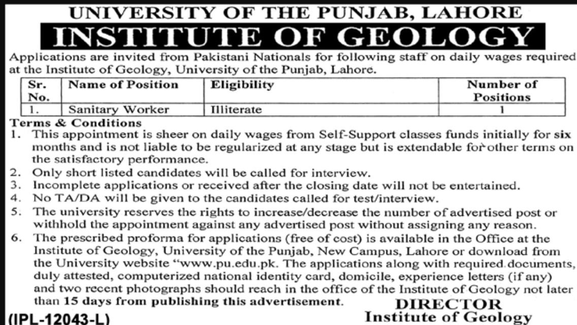 PU Lahore Jobs 2019 University of Punjab
