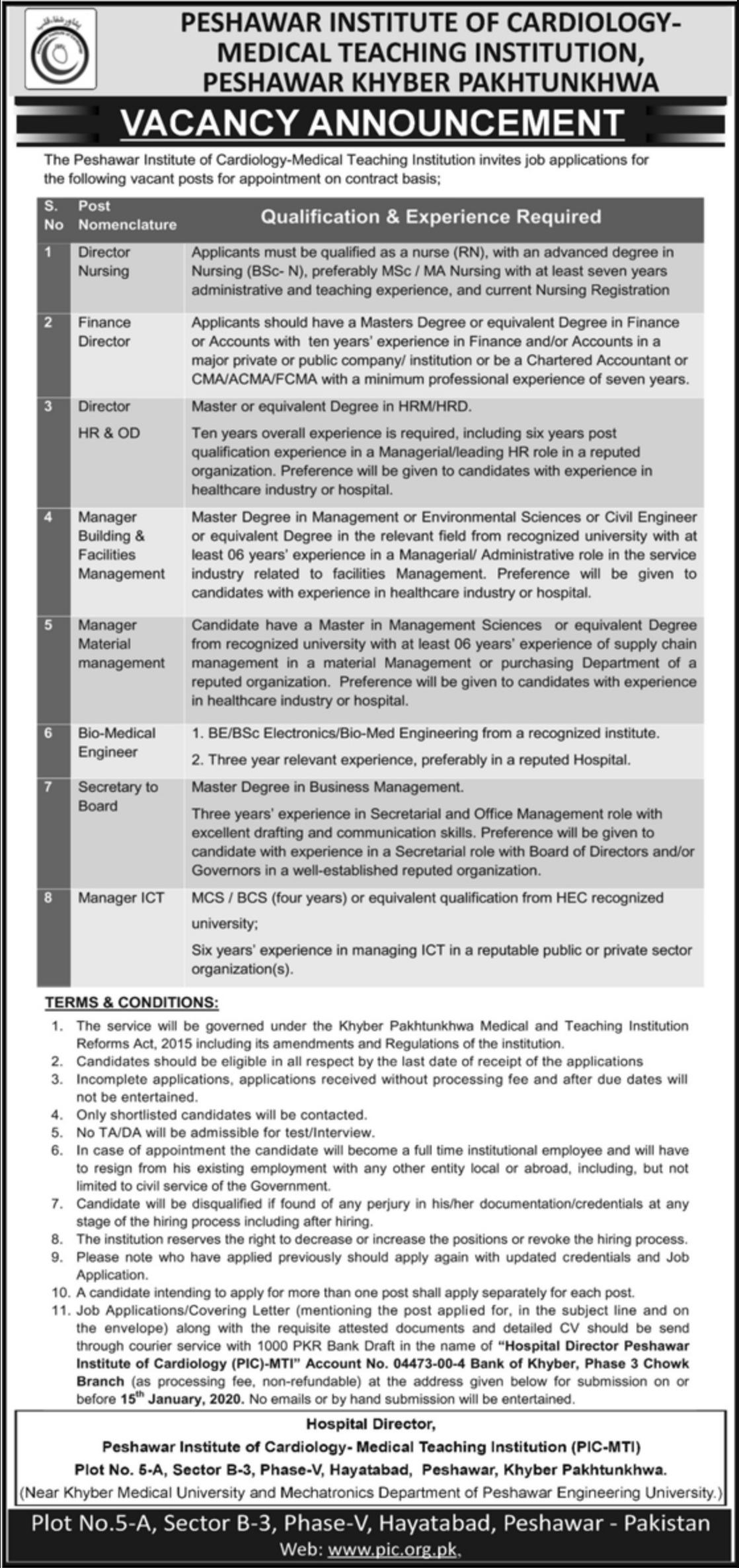 Peshawar Institute of Cardiology PIC MTI Jobs 2019 KPK