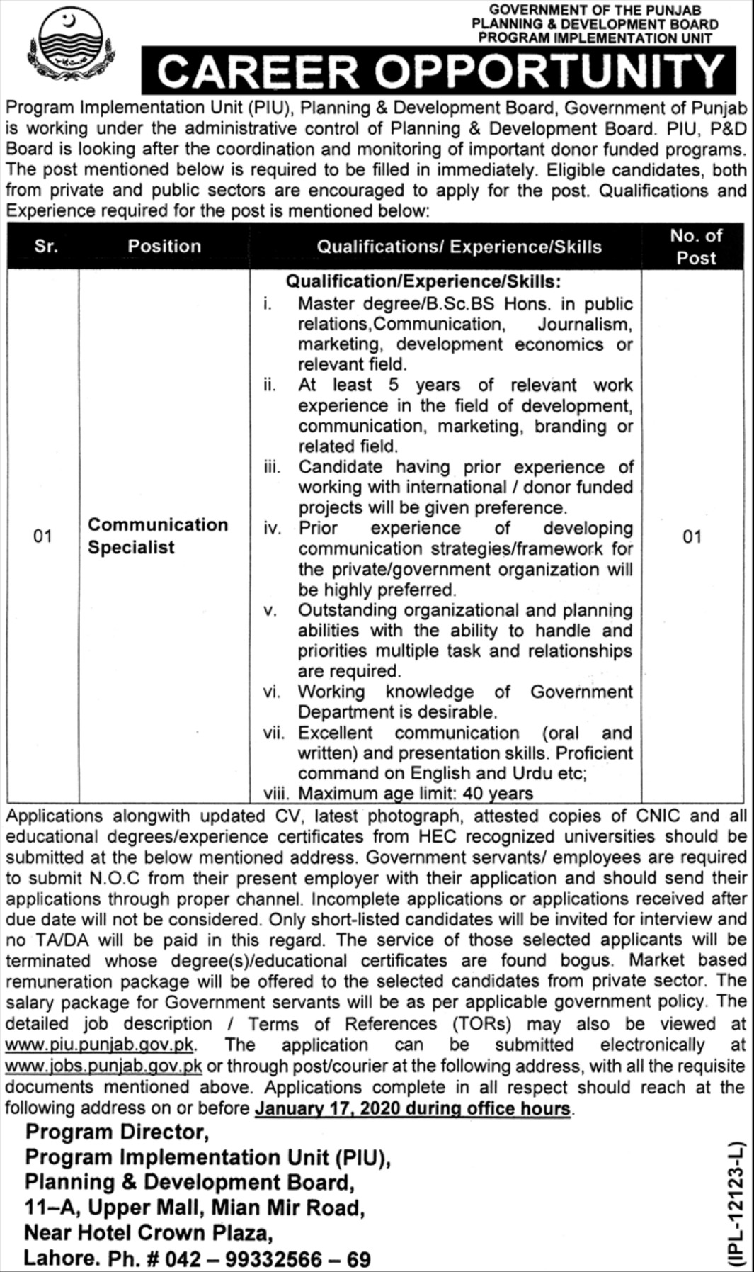 Planning & Development Board Punjab Jobs 2020