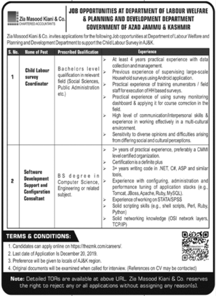 Planning & Development Department AJK Jobs 2019