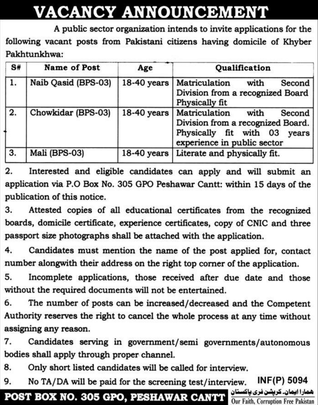 Public Sector Organization Jobs 2019 P.O.Box 305 Peshawar