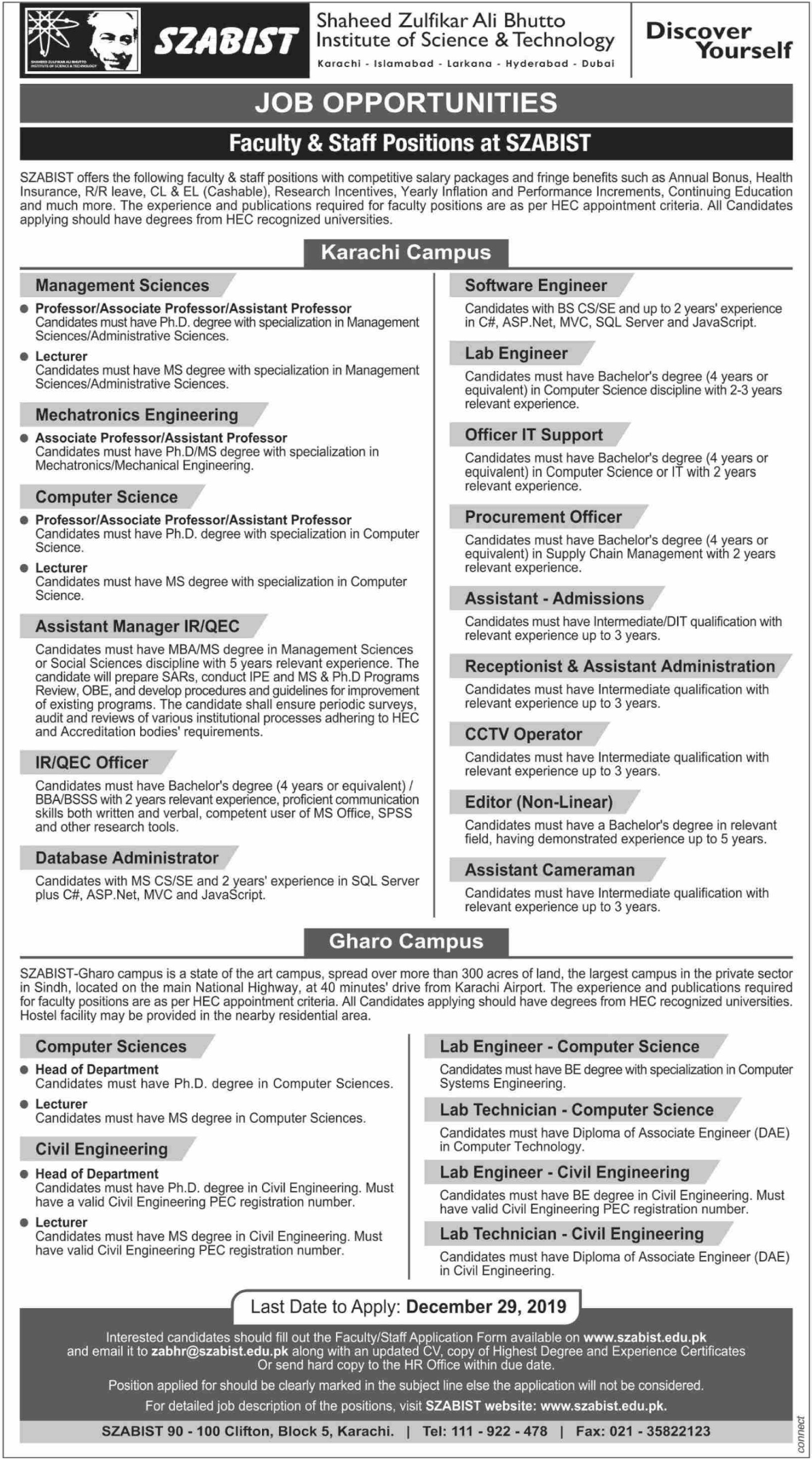 SZABIST Jobs 2019 Shaheed Zulfikar Ali Bhutto Institute of Science & Technology