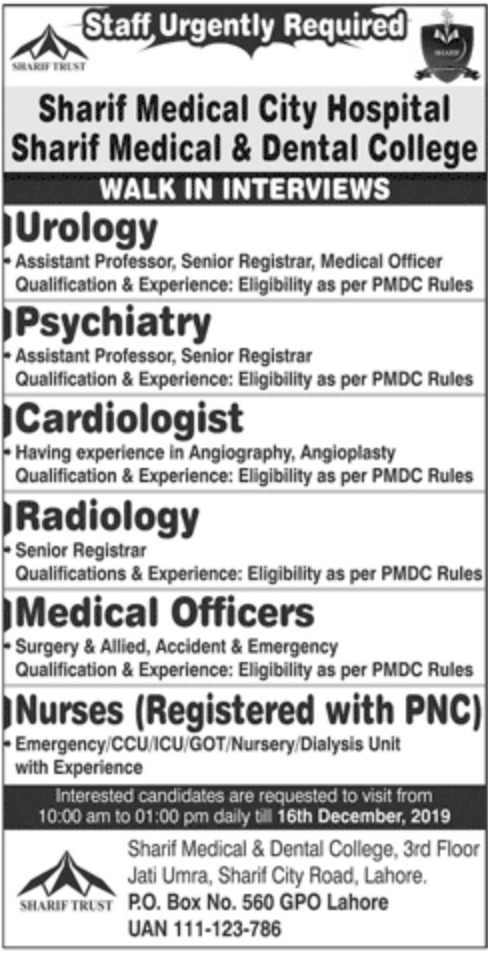Sharif Medical & Dental College Lahore Jobs 2019