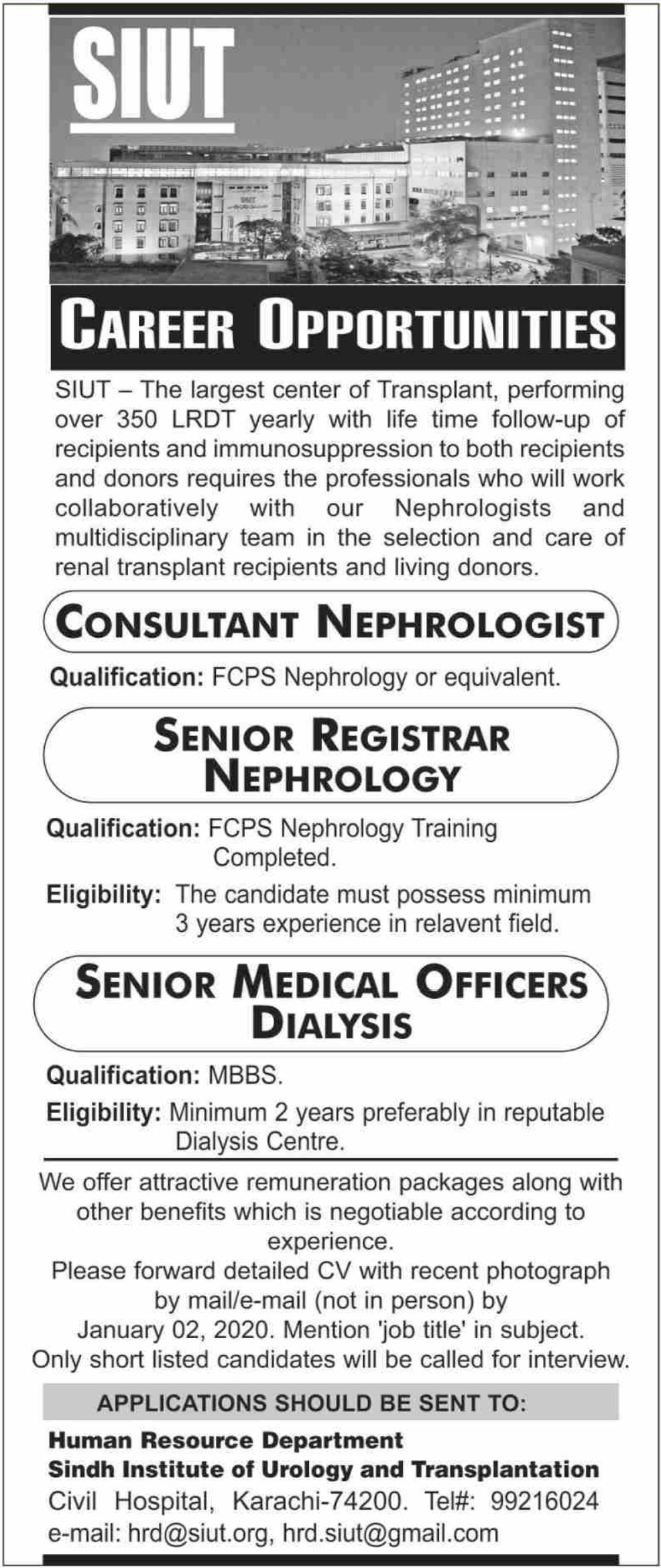 Sindh Institute of Urology & Transplantation SIUT Karachi Jobs 2019