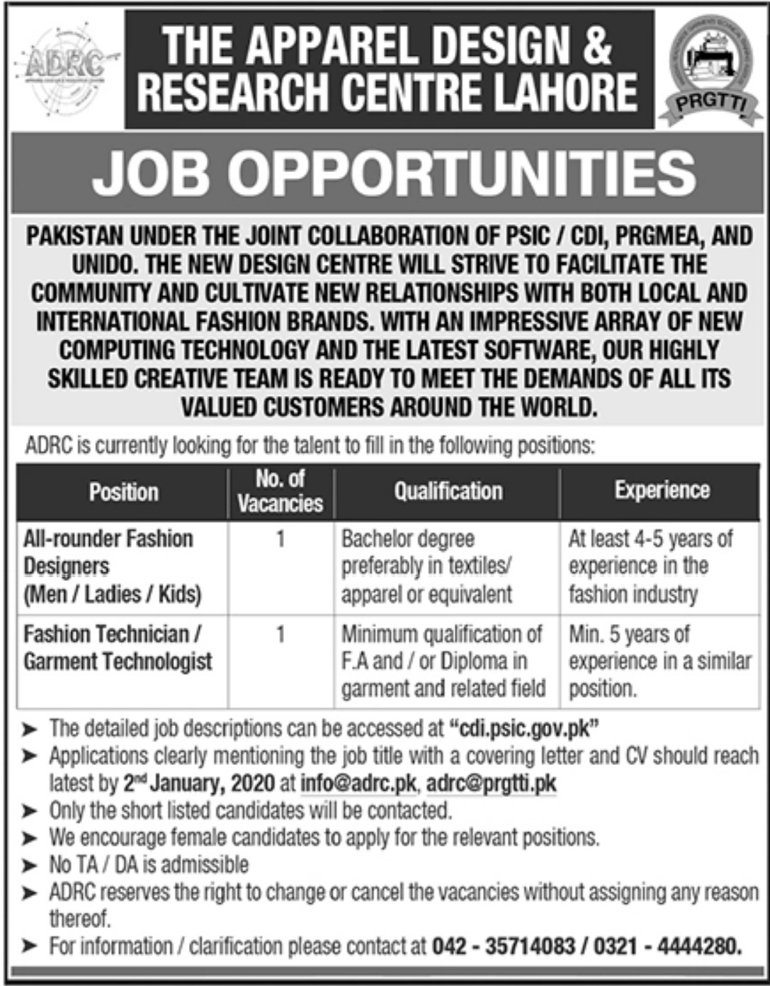 The Apparel Design & Research Centre ADRC Lahore Jobs 2019