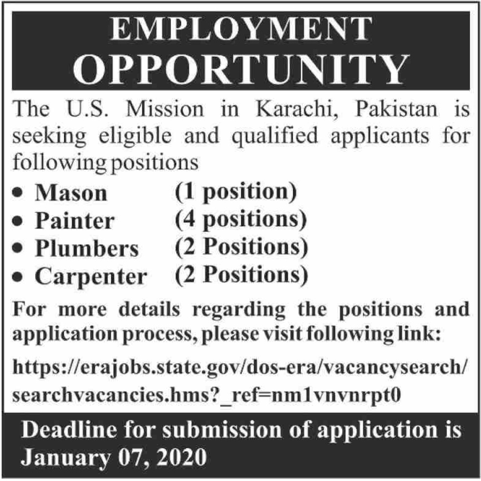U.S. Mission Pakistan Jobs 2019 Karachi