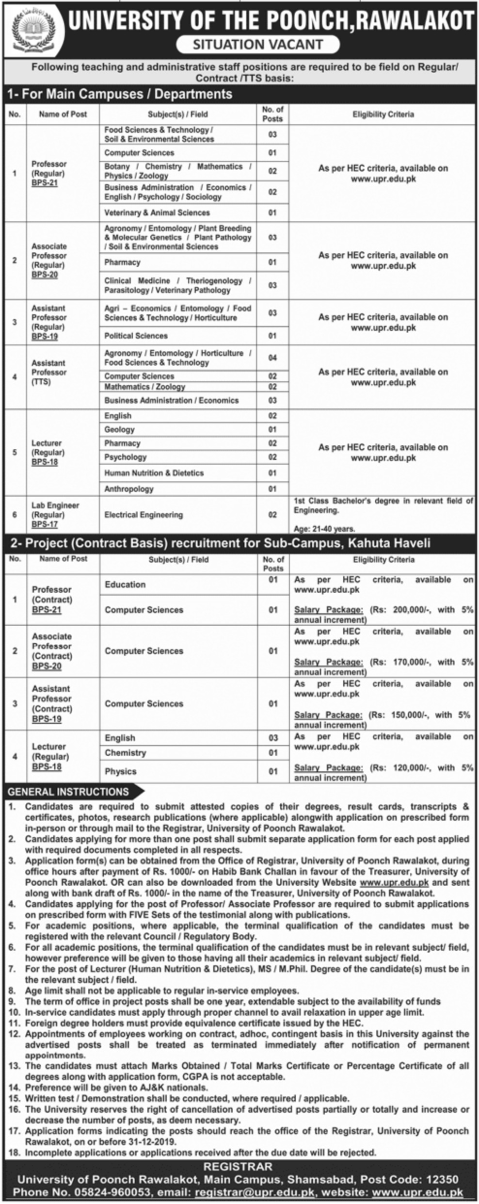 University of Poonch Rawalakot Jobs 2019 AJK