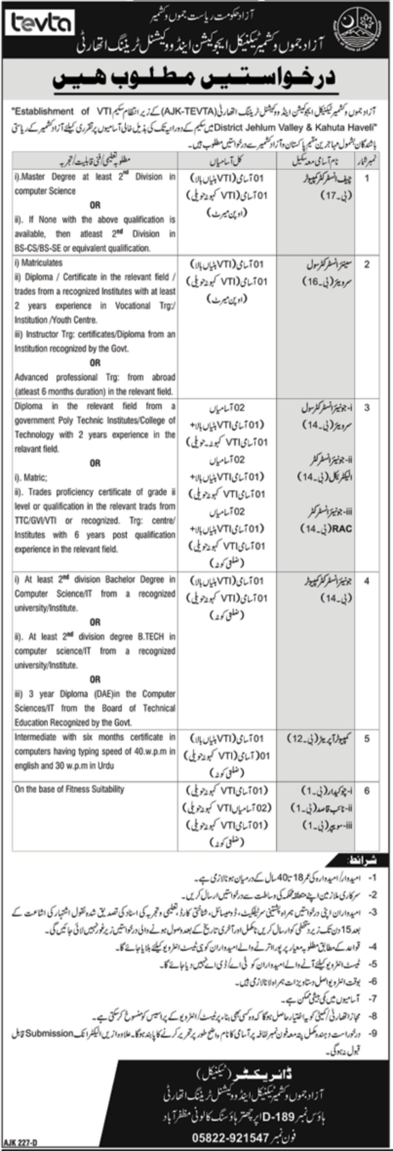 AJK TEVTA Jobs 2020 Technical Education & Vocational Training Authority