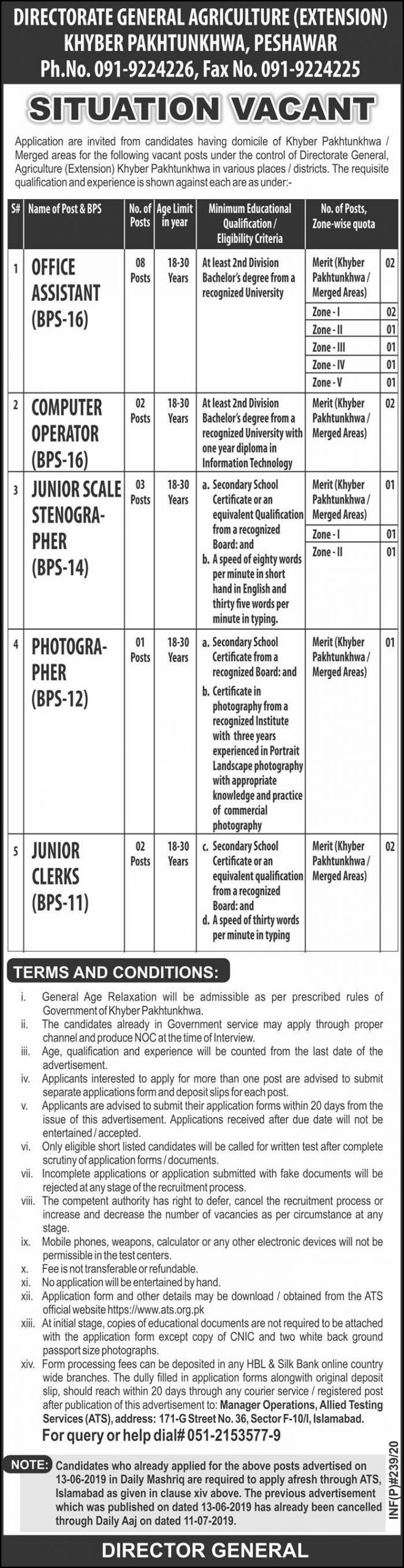 Agriculture Department Peshawar Jobs 2020 KPK