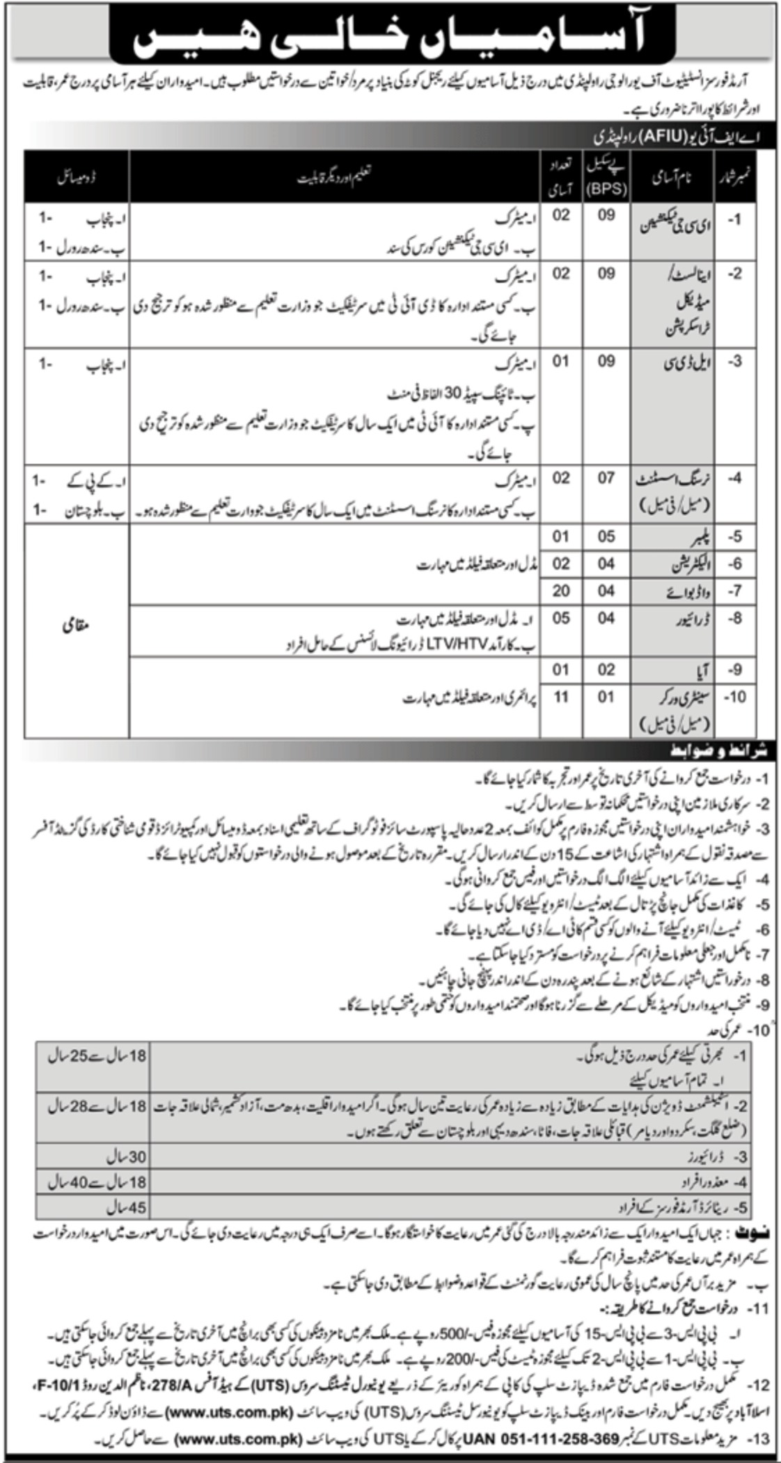Armed Forces Institute of Urology AFIU Rawalpindi Jobs 2020
