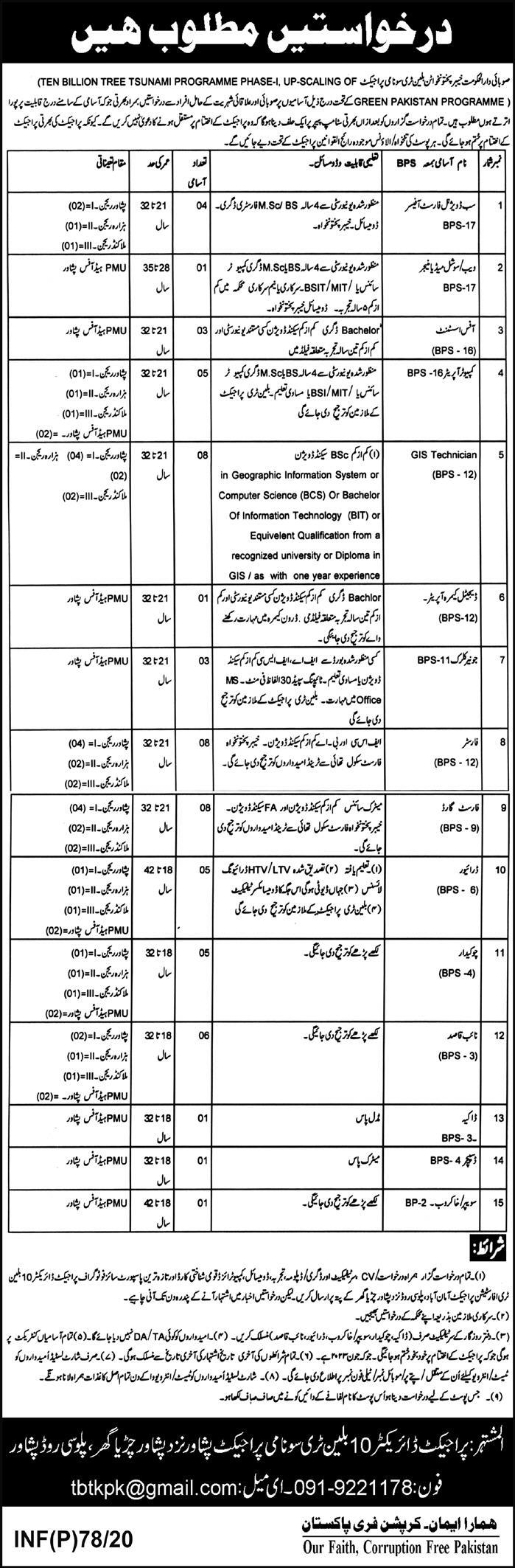 Billion Tree Tsunami Project Peshawar Jobs 2020 KPK