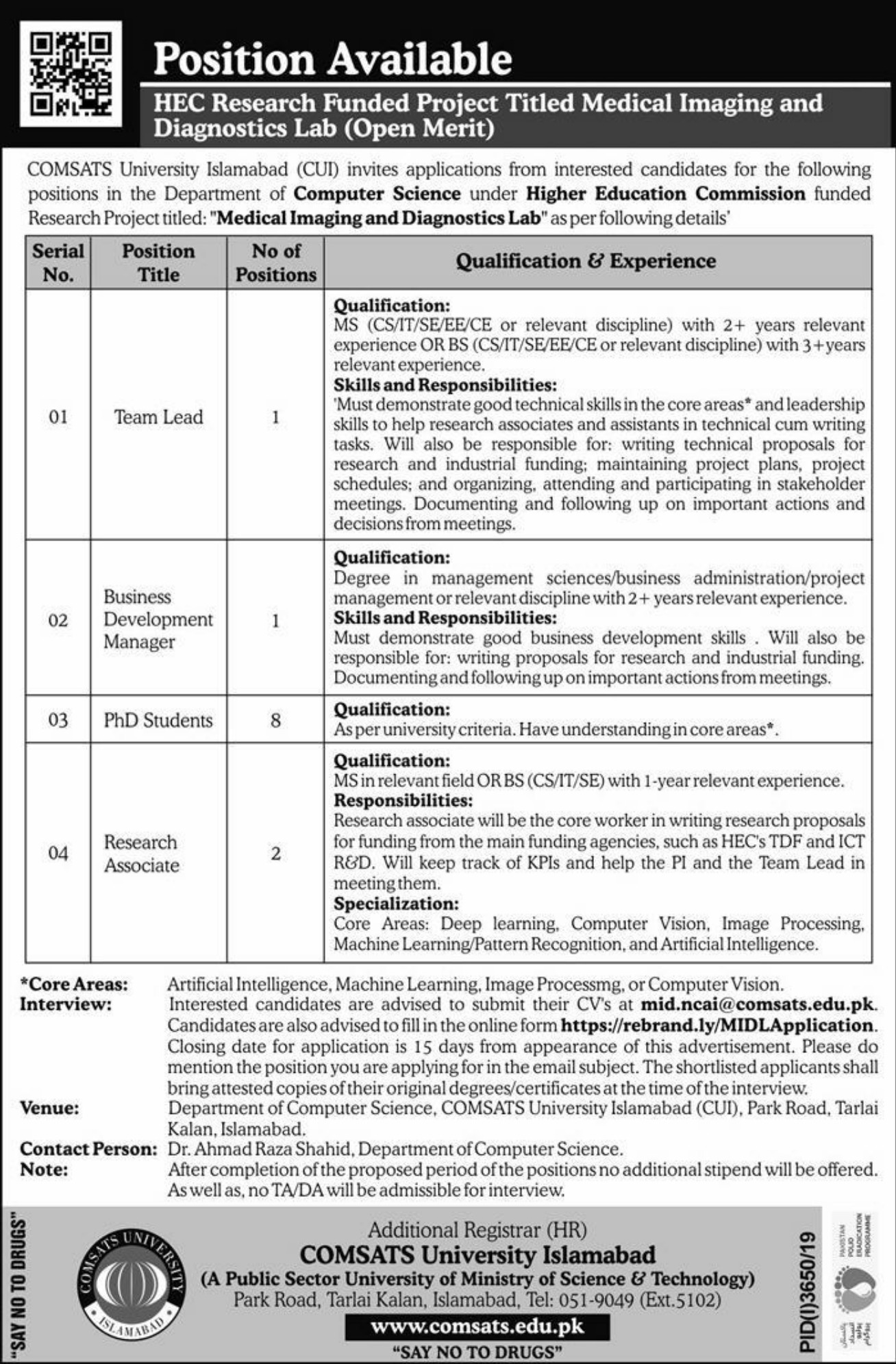 COMSATS University Islamabad CUI Jobs 2020