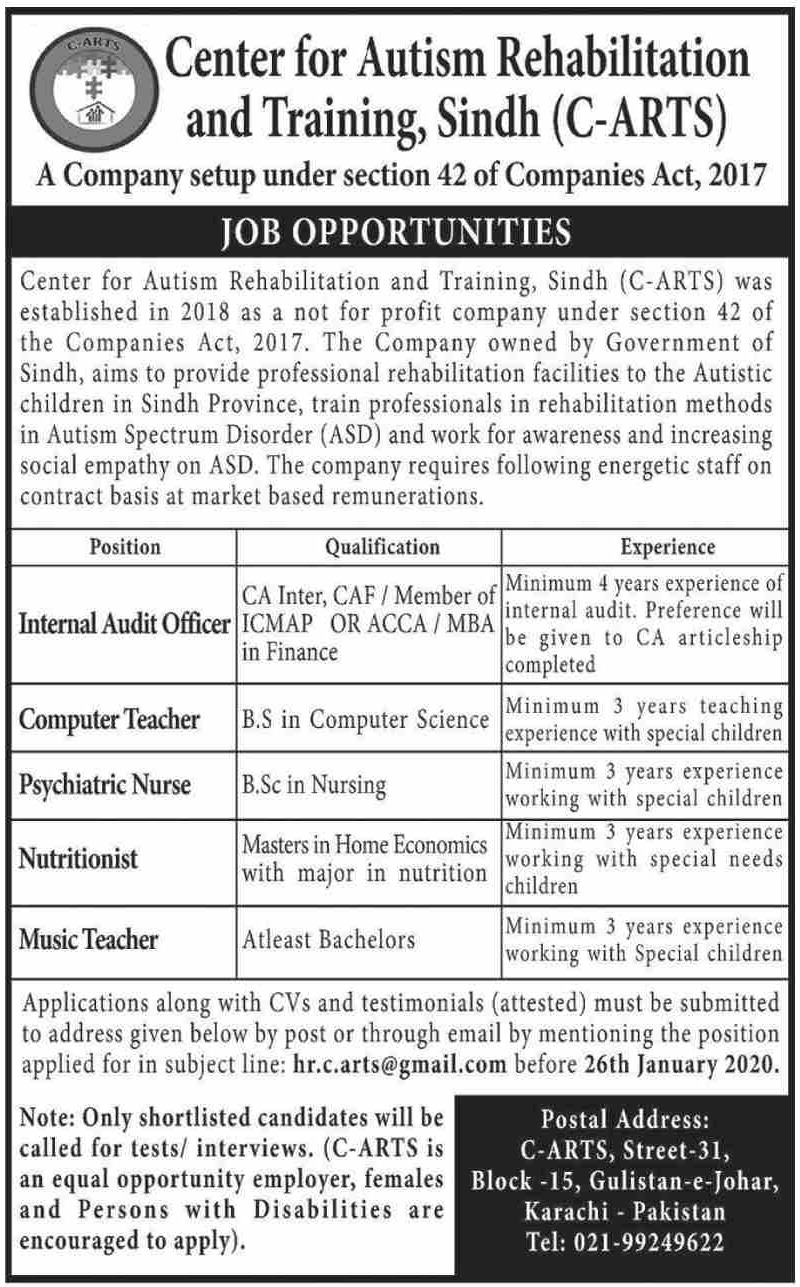 Center for Autism Rehabilitation & Training Sindh Jobs 2020