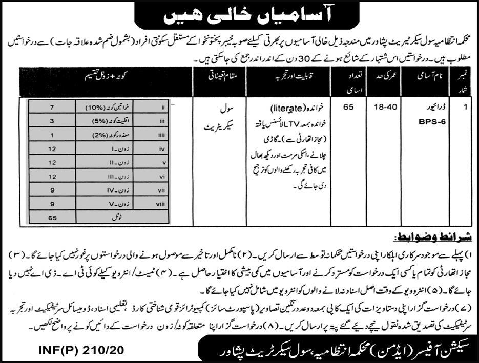 Civil Secretariat Peshawar Jobs 2020 KPK