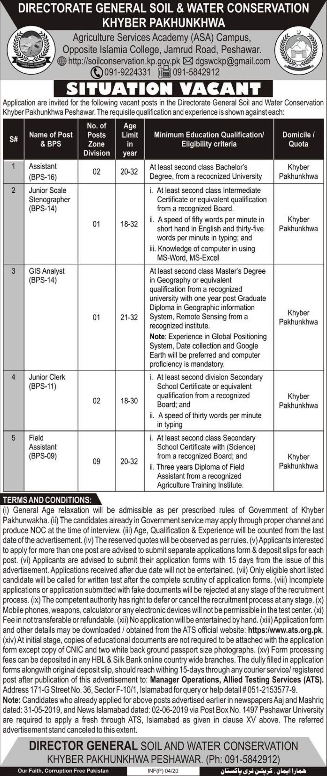 Directorate General Soil & Water Conservation Peshawar Jobs 2020 KPK