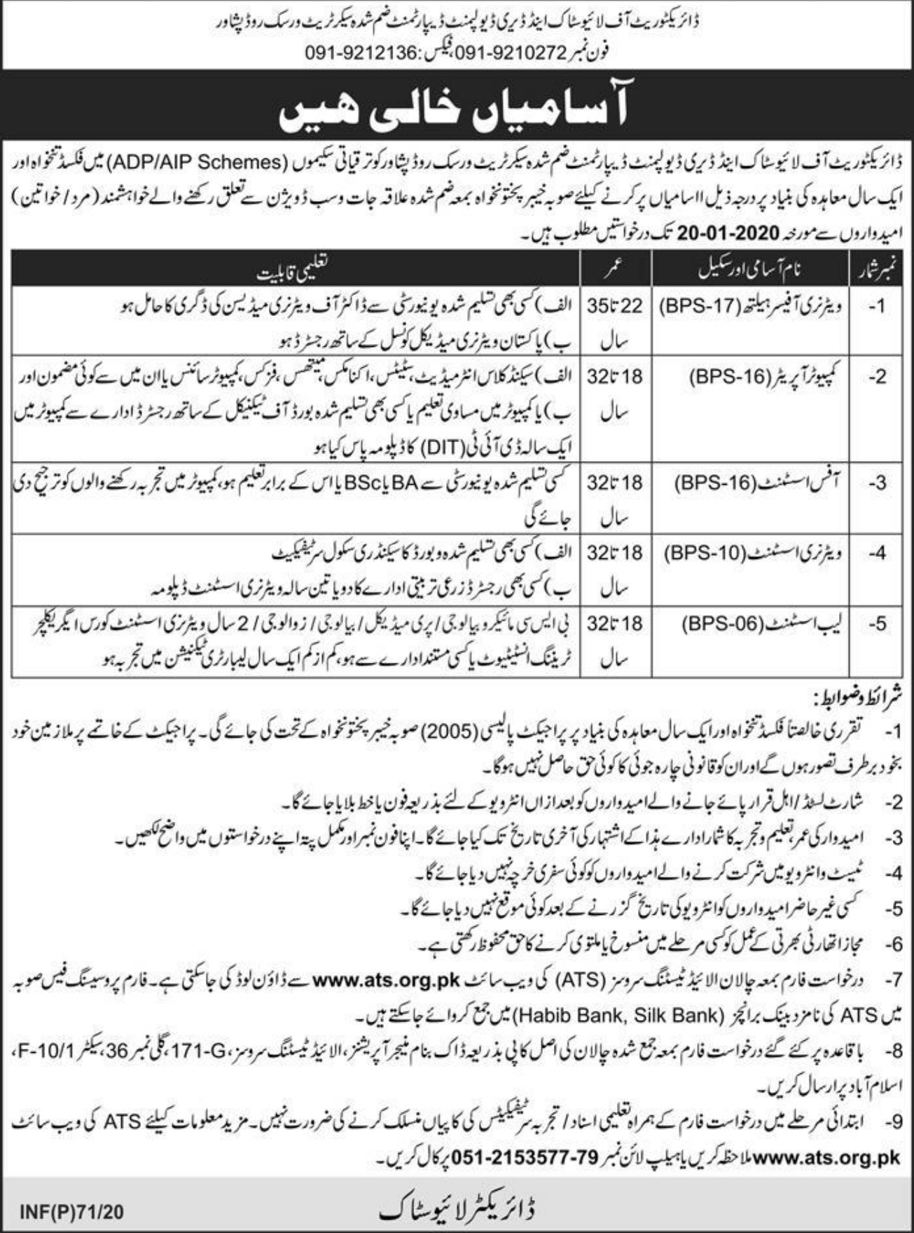 Directorate of Livestock & Dairy Development Department Peshawar Jobs 2020 KPK