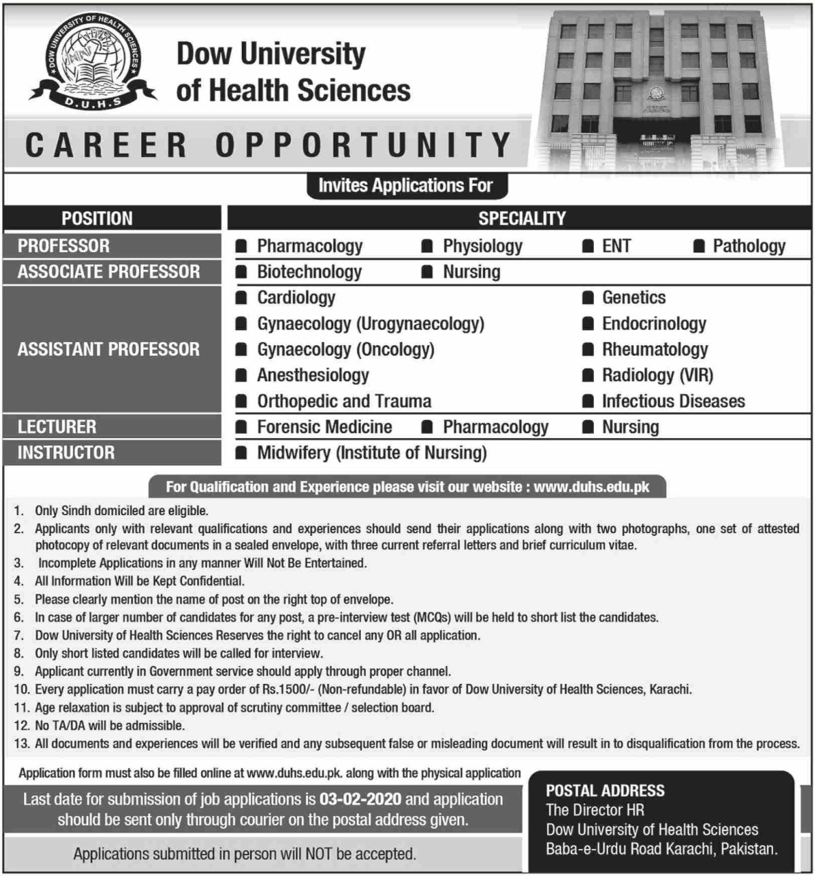 Dow University of Health Sciences DUHS Karachi Jobs 2020